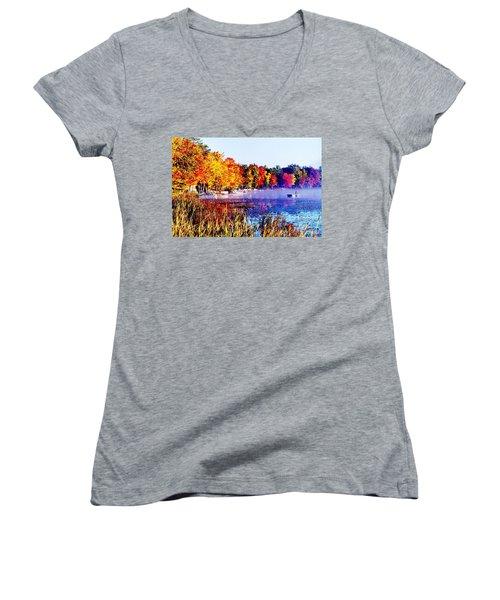 Fall Splendor Of Mid-michigan Women's V-Neck T-Shirt (Junior Cut) by Daniel Thompson