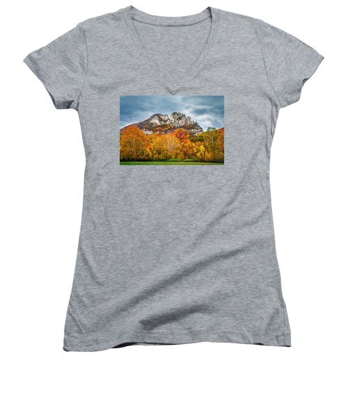 Fall Storm Seneca Rocks Women's V-Neck T-Shirt (Junior Cut) by Mary Almond