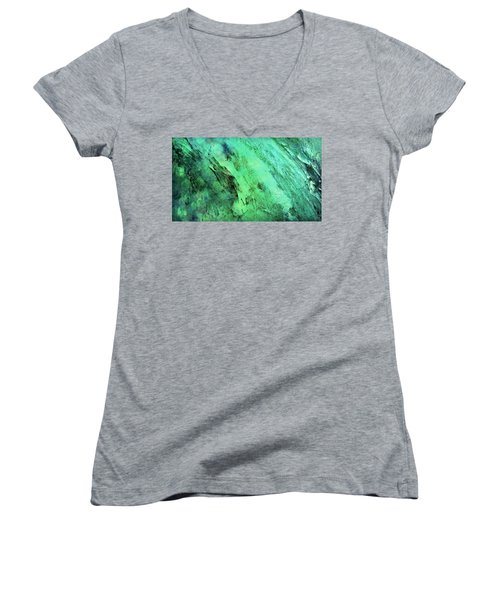 Women's V-Neck T-Shirt (Junior Cut) featuring the mixed media Fallen by Ally  White