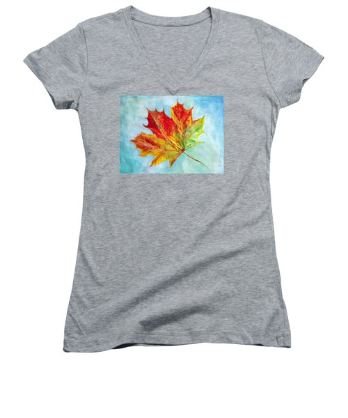 Falling Leaf - Painting Women's V-Neck T-Shirt