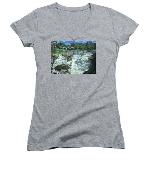 Falls River Park Women's V-Neck T-Shirt (Junior Cut) by Bryan Bustard