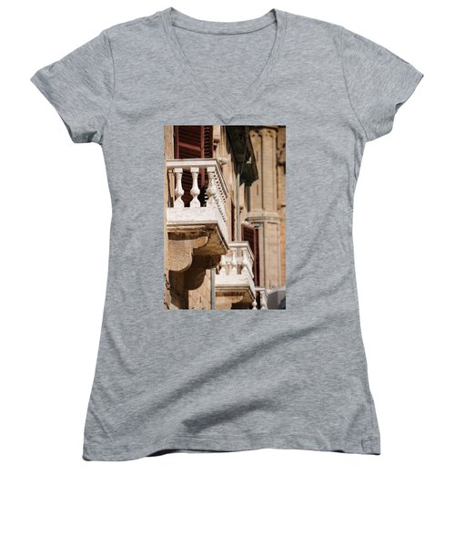 Famagusta Balconies Women's V-Neck T-Shirt (Junior Cut) by Jeremy Voisey