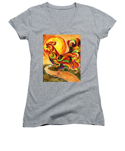 Fancy Feathers Rooster Women's V-Neck
