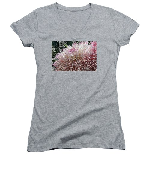 Women's V-Neck T-Shirt (Junior Cut) featuring the photograph Fantasy Dahlia by Denyse Duhaime