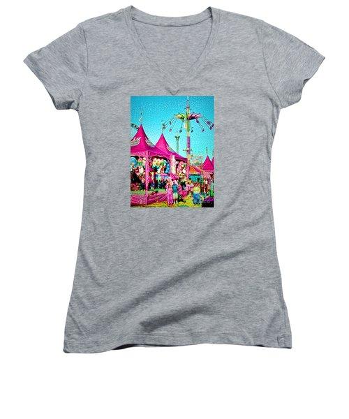 Women's V-Neck T-Shirt (Junior Cut) featuring the digital art Fantasy Fair by Jennie Breeze