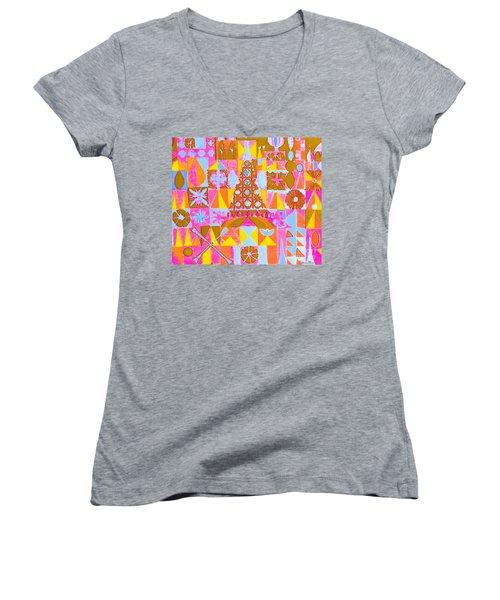 Fantasy In Form Women's V-Neck T-Shirt (Junior Cut) by Beth Saffer
