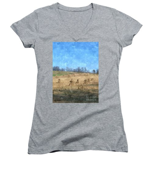 Women's V-Neck T-Shirt (Junior Cut) featuring the painting Farm Days 2 by Sara  Raber