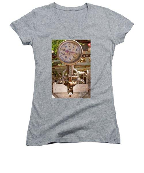 Women's V-Neck T-Shirt (Junior Cut) featuring the photograph Farm Scale by Kerri Mortenson