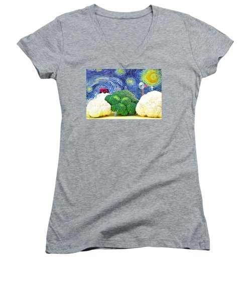 Farming On Broccoli And Cauliflower Under Starry Night Women's V-Neck T-Shirt (Junior Cut) by Paul Ge