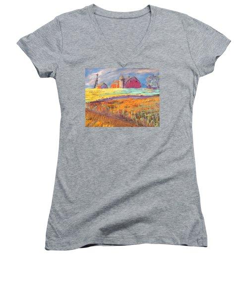 Farmland Sunset Women's V-Neck T-Shirt