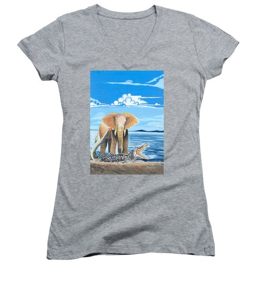 Women's V-Neck T-Shirt (Junior Cut) featuring the painting Faune D'afrique Centrale 02 by Emmanuel Baliyanga