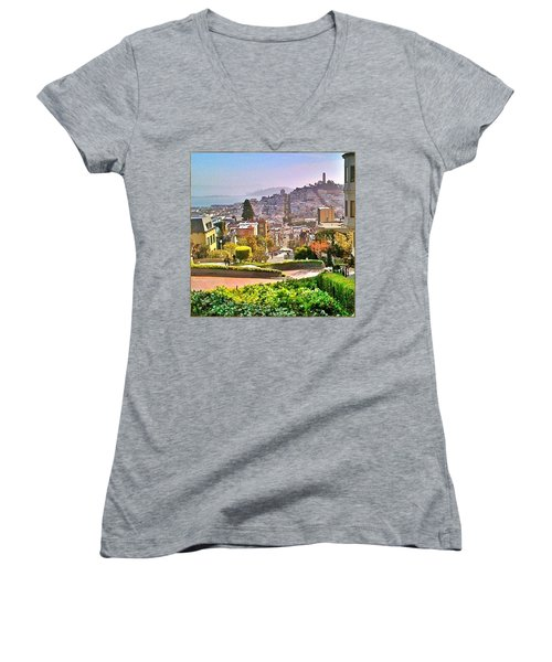 Favorite Places Lombard Street San Francisco California Women's V-Neck T-Shirt (Junior Cut) by Anna Porter