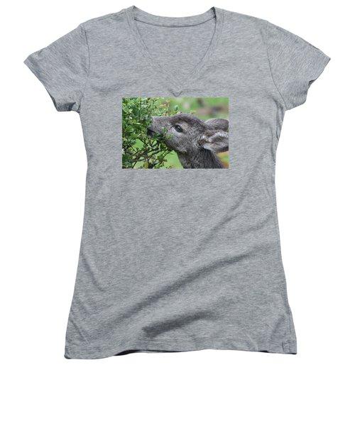 Fawn In The Rain Women's V-Neck T-Shirt