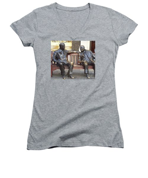 Fdr And Churchill Having A Chat In London Women's V-Neck T-Shirt