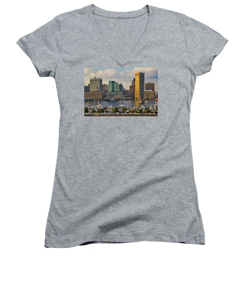 Federal Hill View To The Baltimore Skyline Women's V-Neck