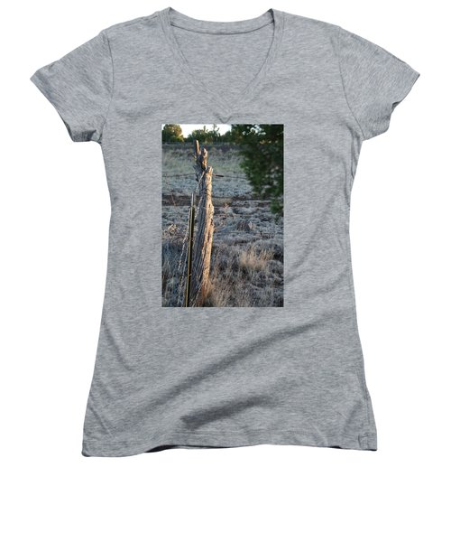Women's V-Neck T-Shirt (Junior Cut) featuring the photograph Fence Post by David S Reynolds