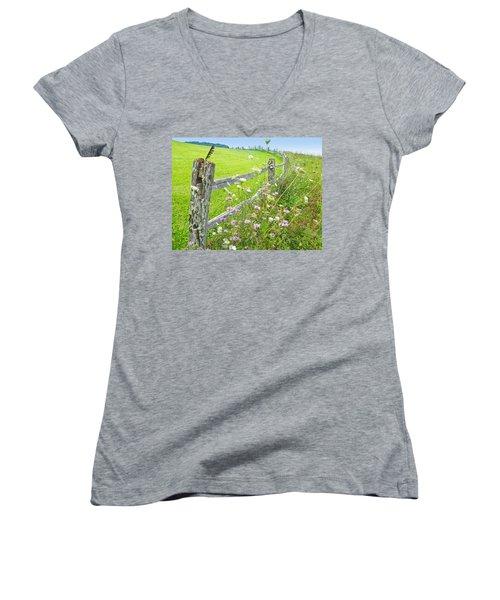 Fence Post Women's V-Neck T-Shirt (Junior Cut) by Melinda Fawver