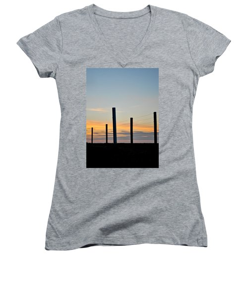 Fence Posts At Sunset Women's V-Neck T-Shirt