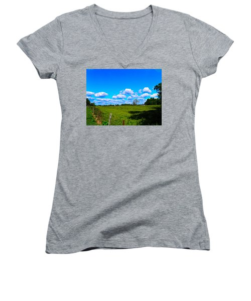 Fence Row And Clouds Women's V-Neck T-Shirt (Junior Cut) by Nick Kirby