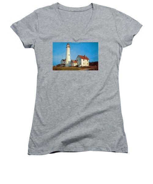 Fenwick Island Lighthouse 1950 Women's V-Neck T-Shirt