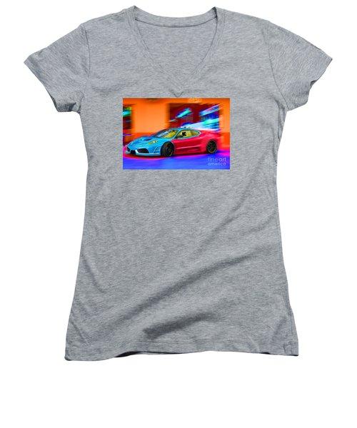 Women's V-Neck T-Shirt (Junior Cut) featuring the photograph Ferrari Baby Blue by Gunter Nezhoda