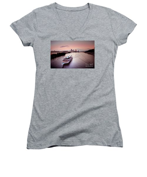 Ferry Boat At The Point In Pittsburgh Pa Women's V-Neck
