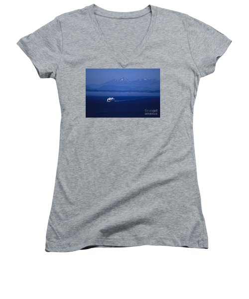 Ferry Boat In Puget Sound With Olympic Mountains Women's V-Neck T-Shirt