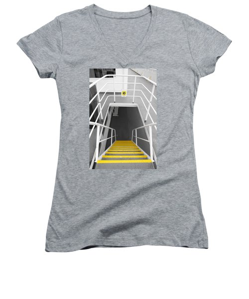 Women's V-Neck T-Shirt (Junior Cut) featuring the photograph Ferry Stairwell by Marilyn Wilson
