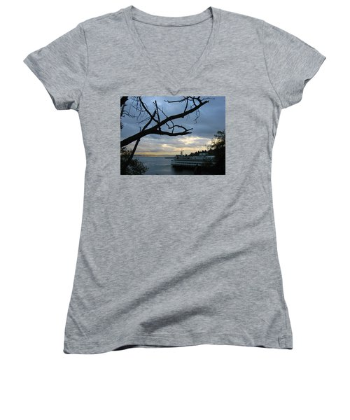 Ferryboat To Seattle  Women's V-Neck T-Shirt (Junior Cut) by Kym Backland