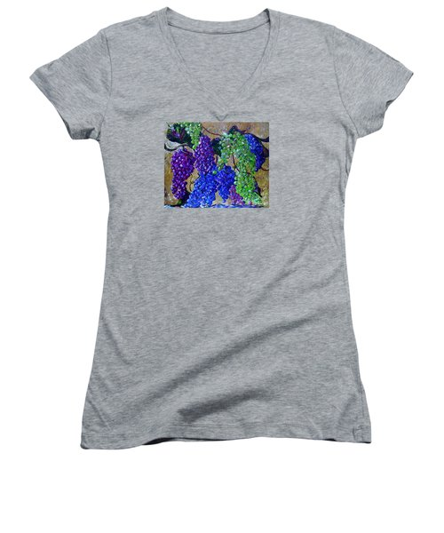 Women's V-Neck T-Shirt (Junior Cut) featuring the painting Festival Of Grapes by Eloise Schneider