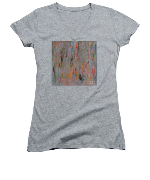 Women's V-Neck T-Shirt (Junior Cut) featuring the painting Fibres Of My Being by Mini Arora
