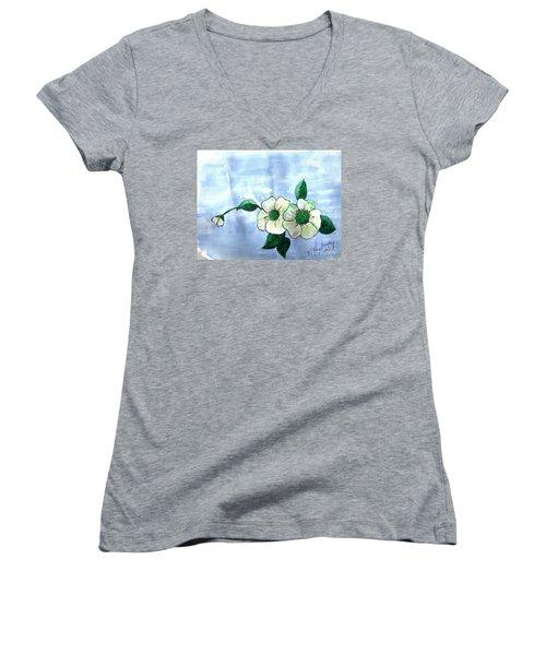 Field Flowers Women's V-Neck T-Shirt (Junior Cut)