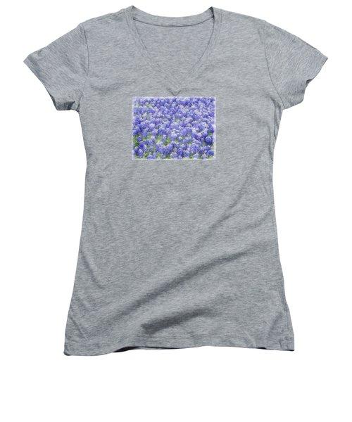 Field Of Bluebonnets Women's V-Neck T-Shirt (Junior Cut) by Kathy Churchman