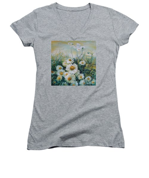 Field Of Flowers Women's V-Neck T-Shirt (Junior Cut) by Elena Oleniuc