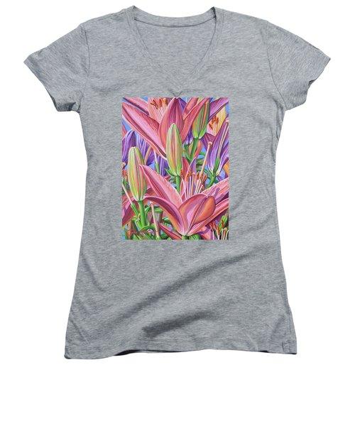 Field Of Lilies Women's V-Neck