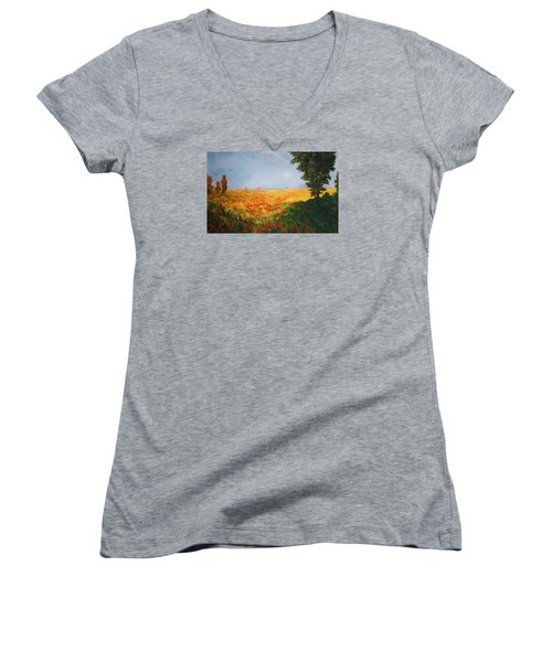 Field Of Poppies Women's V-Neck T-Shirt