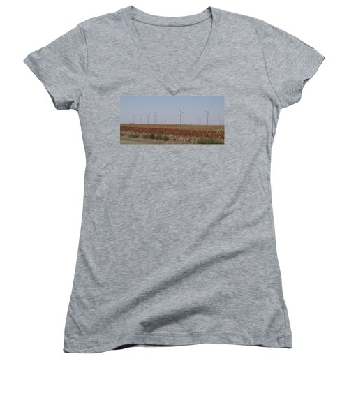 Women's V-Neck T-Shirt (Junior Cut) featuring the photograph Field Of Wind by Fortunate Findings Shirley Dickerson