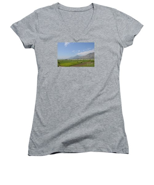Women's V-Neck T-Shirt (Junior Cut) featuring the photograph Fields Mountains Sky And A River Swat Valley Pakistan by Imran Ahmed