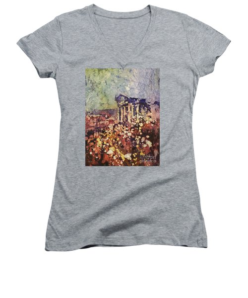 Fields Of Flower- And Roman Temple Women's V-Neck (Athletic Fit)
