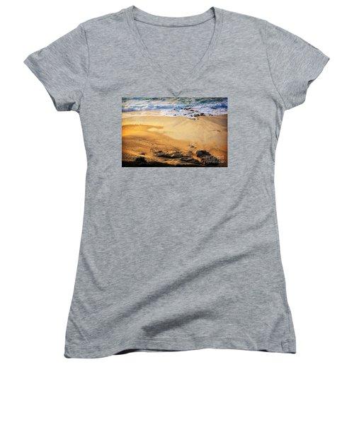 Women's V-Neck T-Shirt (Junior Cut) featuring the photograph Fiery Beach by Ellen Cotton