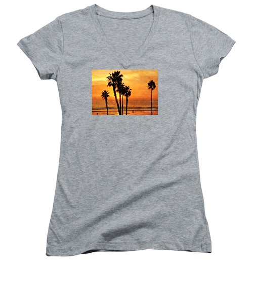 Fiery California Sunset Oceanside Beach Women's V-Neck (Athletic Fit)