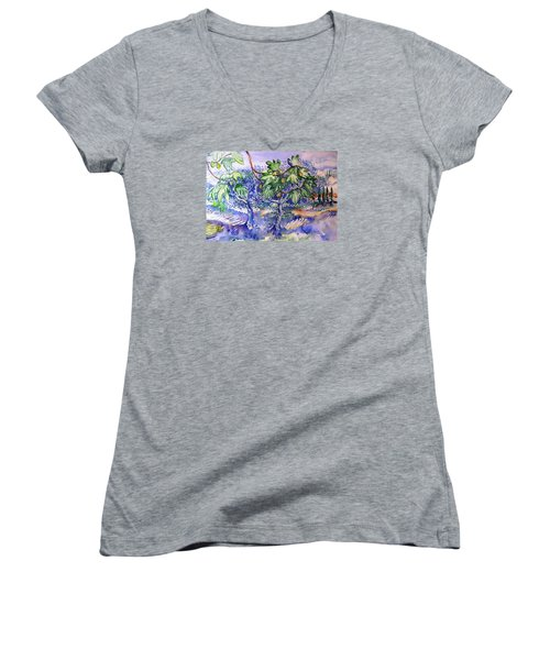 Fig Tree And Olive Trees In A Tuscan Garden Women's V-Neck T-Shirt (Junior Cut) by Trudi Doyle