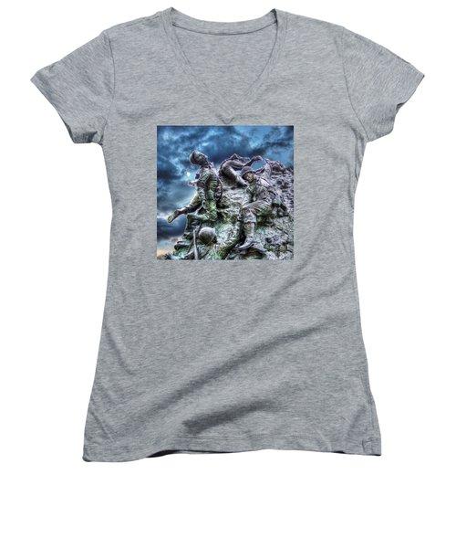 Fight On Women's V-Neck T-Shirt (Junior Cut) by Dan Stone