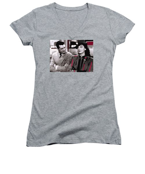 Film Homage Cary Grant Rosalind Russell Howard Hawks His Girl Friday 1940-2008 Women's V-Neck