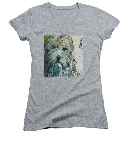 Fine Art Dog Print Women's V-Neck (Athletic Fit)