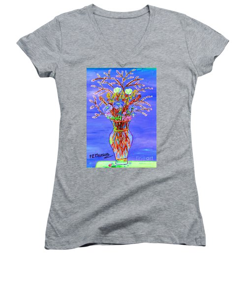 Women's V-Neck T-Shirt (Junior Cut) featuring the painting Fiori by Loredana Messina