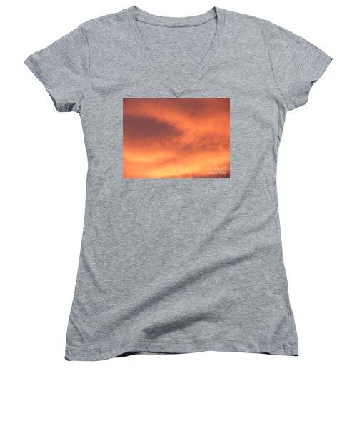 Fire Clouds Women's V-Neck T-Shirt (Junior Cut) by Joseph Baril