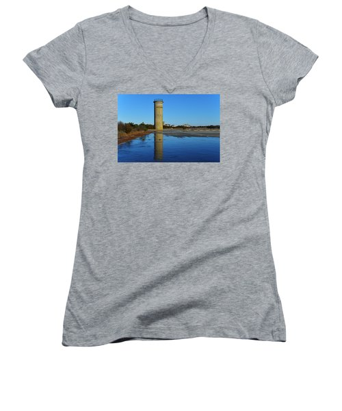 Fire Control Tower 3 Icy Reflection Women's V-Neck T-Shirt
