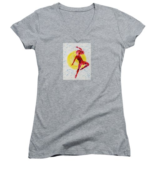 Fire Dancer Women's V-Neck T-Shirt (Junior Cut) by Mary Armstrong