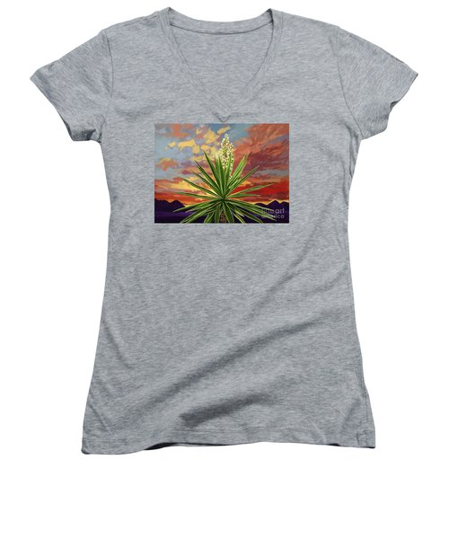Fire Sky Desert Blooming Yucca Women's V-Neck T-Shirt (Junior Cut) by Tim Gilliland